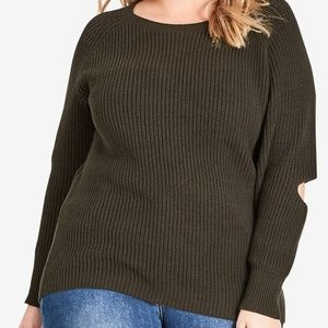 city chic Elbow Kisses Sweater army